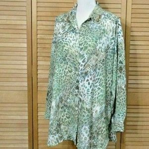 Chico's Green Multi Embellished Tunic Blouse 2